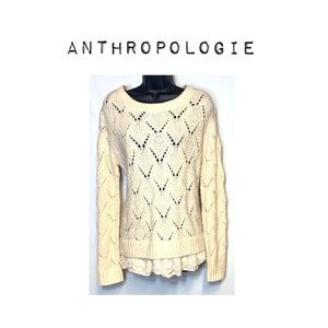 Anthro Chunky open knit sweater with lace